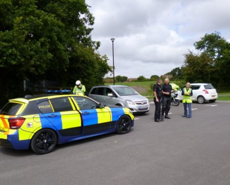Police and council officers carry out checks on taxis at the Jubilee Centre in Bradley Stoke.