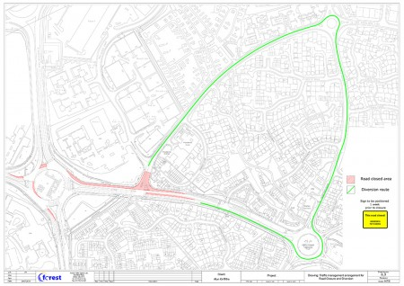 Woodlands Lane: Traffic management arrangement for road closure and diversion.