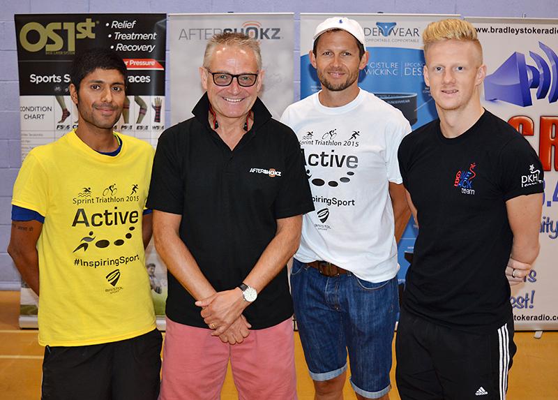 Active Triathlon: Prize presentation to Male Veteran category winner Simon Ward.