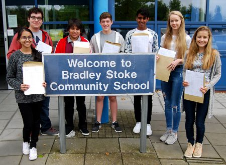 Top-achieving GCSE students at Bradley Stoke Community School. L-r: Amna Hussain, Marcos Manning, Varun Thapa, James King, Adam Timothy and Emily Porter, Ella Grove.