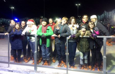 Christ the King youth group 4Mation ice skating at The Mall.