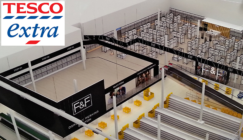 Artist's impression of new Dorothy Perkins and Burton outlets within the Tesco Extra Store in Bradley Stoke, Bristol.