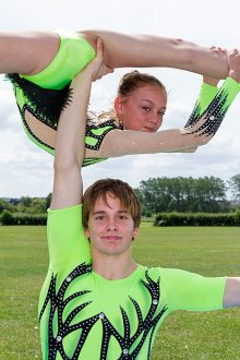 Vada Finniear and Kenedi Cross of Harriers Acrobatic Gymnastics Club.