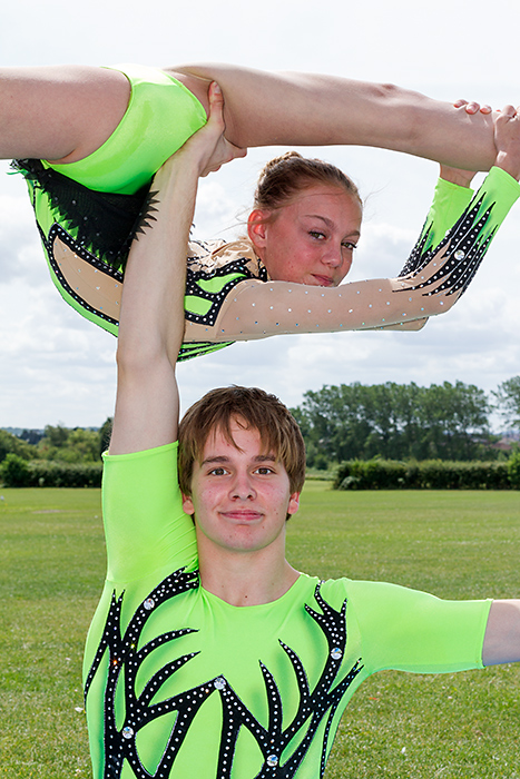 Vada Finniear and Kenedi Cross of Harriers Acrobatic Gymnastics Club.