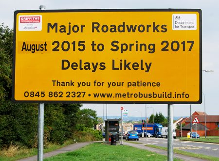 MetroBus major roadworks sign on Bradley Stoke Way.