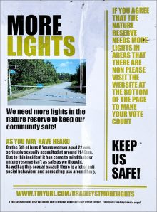 'More lights' poster displayed at numerous locations around the nature reserve in Bradley Stoke.