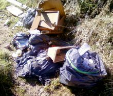 Rubbish fly-tipped on Trench Lane in Winterbourne.