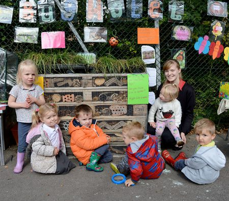 Bug hotel created by volunteers from Lloyds Banking Group at Abacus Pre-School @ Meadowbrook, Bradley Stoke, Bristol.