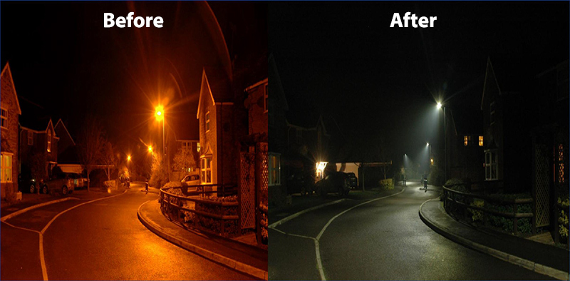 LED street lights: Before and after.