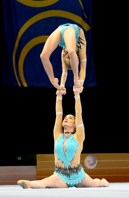 Abigail Hipkiss and Tiana McClurg of King Edmund Gym Club competing at the European Junior Acrobatic Gymnastics Championships in Riesa, Germany.