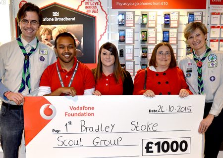 Representatives of the 1st Bradley Stoke Scout Group are presented with their Vodafone Community Connection Award at the Vodafone store in Bradley Stoke.