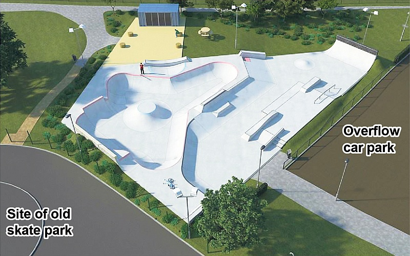 Visualisation of the proposed new skate park at Bradley Stoke Leisure Centre.