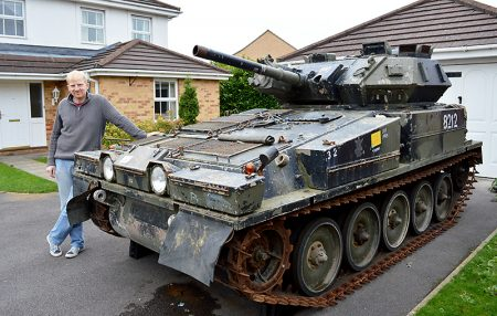 Jeff Woolmer with the Scorpion light tank he purchased via an online auction site.