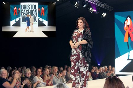 Makeover model Natalie Welsh on the catwalk at Bristol Fashion Week AW2015.