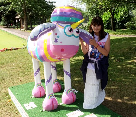 Hollie visits 'Sparkles' on the Bristol 'Shaun in the City' sculpture trail.