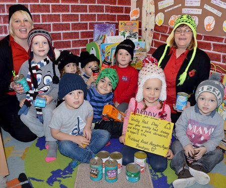 Woolly Hat Day at Abacus Pre-School, in support of the Midland Road Homeless Project.