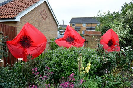 Giant Remembrance poppies installed near Manor Farm Roundabout by the Bradley Stoke in Bloom group.