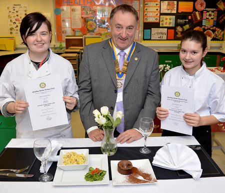 Bradley Stoke Rotary Young Chef 2015: Winner Keeva Holder and runner-up Ciera Burns with Bradley Stoke Rotary Club president Bob Warne.