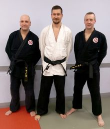 L-r: Chris Wills, Matt Brunt and Peter Williams - The first members of Bradley Stoke Jiu Jitsu Club to achieve a black belt 1st Dan grading.