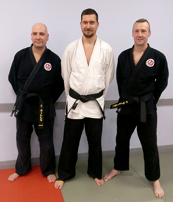 L-r: Chris Wills, Matt Brunt and Peter Williams - The first members of Bradley Stoke Jiu Jitsu Club to achieve a black belt 1st Dan grading.