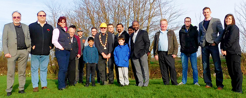 Mayor Cllr Roger Avenin, breaks the ground of the new skate park development with fellow councillors, active young residents and council officers.