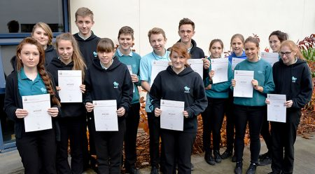Duke of Edinburgh Award winners at Bradley Stoke Community School (l-r): Sophie Brain, Rachel Bennett, Megan Batty, Tom Dinham, Rebecca Halford, Alex Jackson, Callum Wilson, Rebecca Nash, Harry Wide, Jemma Smith, Emily Smart, Lucy Osborn, Lara Carnell and Chloe Lewis (all receiving bronze awards).