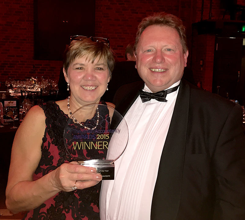 Mike Dunkley of Dunkley's Chartered Accountants, pictured with wife Gill after receiving the Independent Firm of the Year (South-West) award at the British Accountancy Awards 2015.
