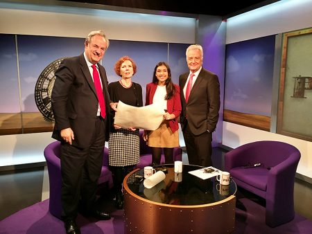 Neha Meta on the set of the BBC Politics Show West. L-r: James Grey MP, Baroness Royall of Blaisdon, Neha Mehta and David Garmston.