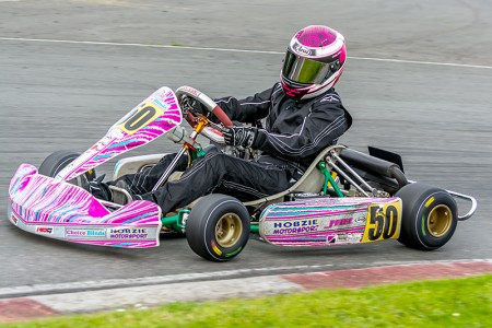 Kart racer Paige Holden in action.