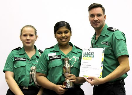 Ann Rose Biju (centre), named St John Ambulance South West Regional Cadet of the Year for 2015, with outgoing cadet of the year Stephanie Harvey and regional youth manager Dave Christophers.