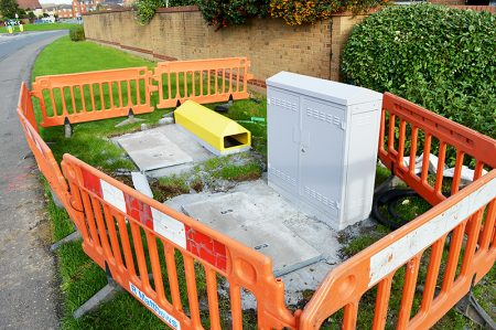 Installation of a new Virgin Media street cabinet on Brook Way, Bradley Stoke, near the Cross Tree Grove junction.