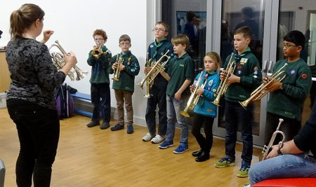 Marching band tuition at the 1st Bradley Stoke Scout Group.