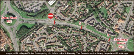 Pedestrian crossings affected by MetroBus construction work on Bradley Stoke Way:  1 = Woodlands Lane crossing; 2 = Patchway Brook zebra crossing; 3 = Orchard Gate crossing.