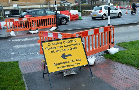 Pedestrian crossing on Bradley Stoke Way temporarily closed due to MetroBus construction work.