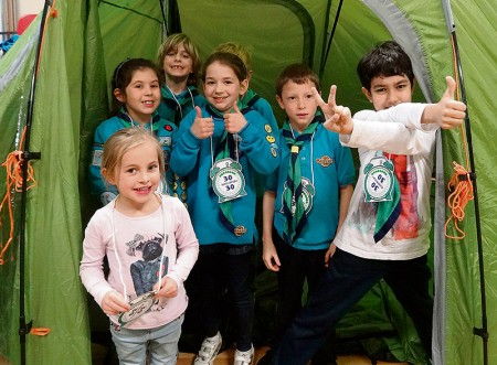 Members of the 1st Bradley Stoke Scout Group celebrate the 30th anniversary of Beaver Scouts.