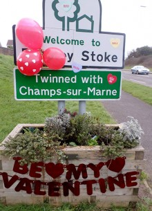 Welcome to Bradley Stoke signs given a Valentine's Day makeover.