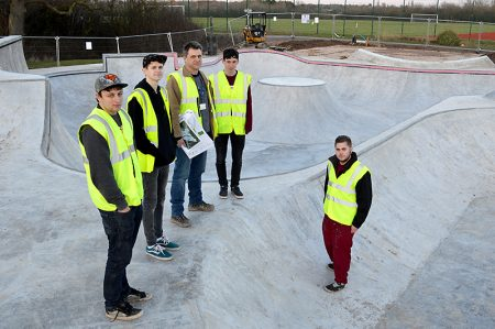 Youth participation worker Graham Baker (third from left) and local young people inspect progress on the construction of the new skate park in the grounds of Bradley Stoke Leisure Centre.