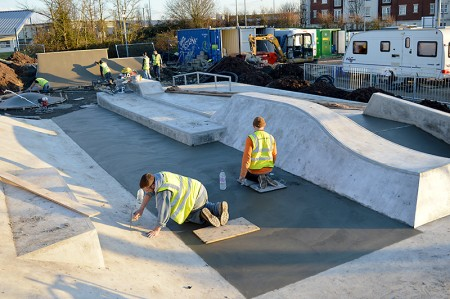 Work in progress on the construction of a new skate park in the grounds of Bradley Stoke Leisure Centre.