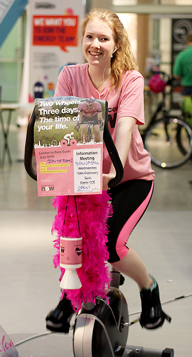 Kelly Adkins, training for a bike ride that will raise funds for Breast Cancer Now.