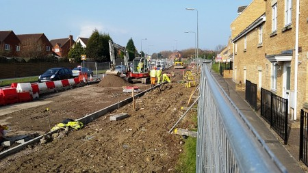 MetroBus construction work on Bradley Stoke Way, between the Orchard Gate junction and Patchway Brook Roundabout.