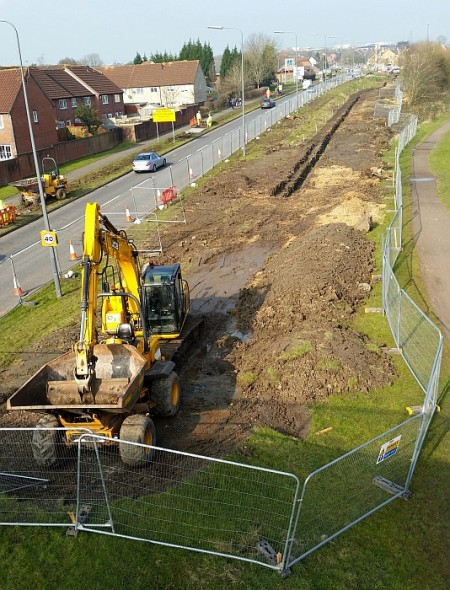 MetroBus construction work on Bradley Stoke Way, south-east of Patchway Brook Roundabout.