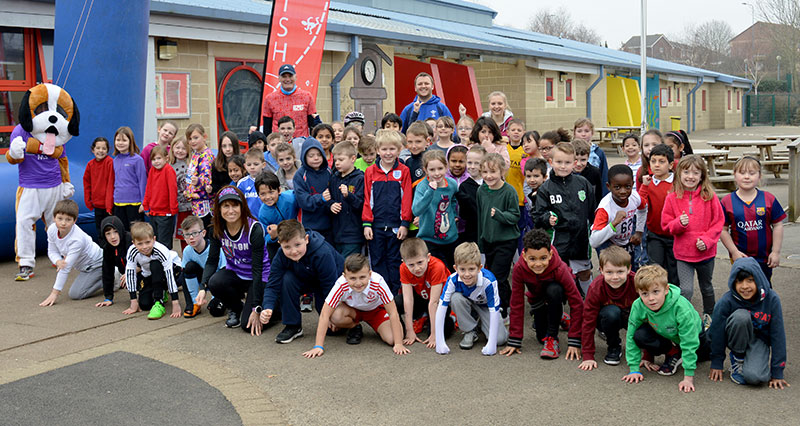 Sport Relief 'marathon' at Baileys Court Primary School, Bradley Stoke.