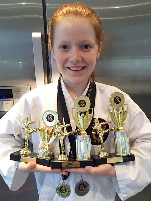 Georgia Powell, multiple winner at the Dragon Tang Soo Do Championships in Bradley Stoke on 19th March 2016.