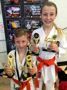 Zailan Johnson and Lexi Johnson, multiple winners at the Dragon Tang Soo Do Championships in Bradley Stoke on 19th March 2016.