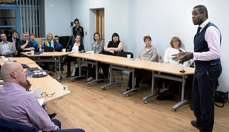 Julian Okoye addresses a meeting of Bristol Small Business Forum.