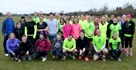 Members of North Bristol Running Group join graduates of the group's recent 'Couch to 5k' course at the Little Stoke parkrun on 19th March 2016.