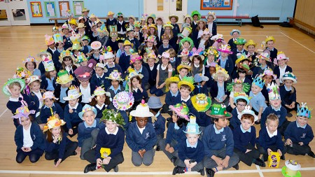 Special Easter assembly at St Chad's Primary School, Stoke Lodge, with pupils wearing Easter bonnets that they had created.