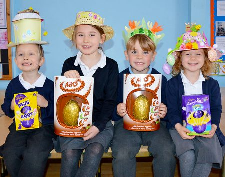 Winners of the Easter Bonnet competition at St Chad's Primary School, Stoke Lodge, Bristol. L-r: Macs Rakowski (Y1), Scarlett Burley (Y2), Henry Webb (EYFS) and Elsie Brunt (EYFS).