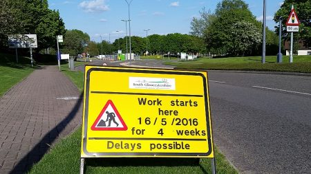 Roadworks sign on Park Avenue, Aztec West Business Park, Bristol.