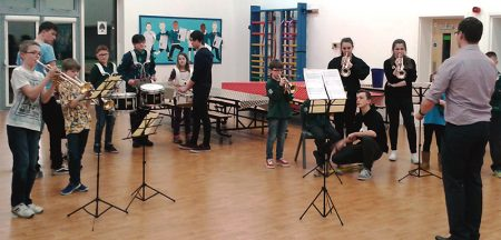 Practice session for the 1st Bradley Stoke Scout Group's marching band.